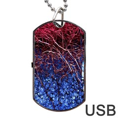 Autumn Fractal Forest Background Dog Tag Usb Flash (two Sides) by Amaryn4rt