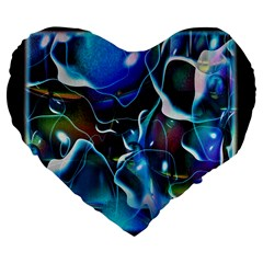 Water Is The Future Large 19  Premium Flano Heart Shape Cushions by Amaryn4rt
