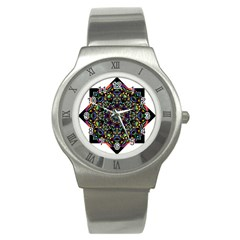Mandala Abstract Geometric Art Stainless Steel Watch