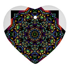 Mandala Abstract Geometric Art Heart Ornament (two Sides) by Amaryn4rt
