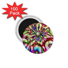 Magic Fractal Flower Multicolored 1 75  Magnets (100 Pack)  by EDDArt