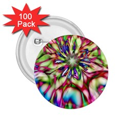 Magic Fractal Flower Multicolored 2 25  Buttons (100 Pack)  by EDDArt