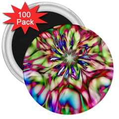 Magic Fractal Flower Multicolored 3  Magnets (100 Pack) by EDDArt