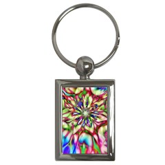 Magic Fractal Flower Multicolored Key Chains (rectangle)  by EDDArt