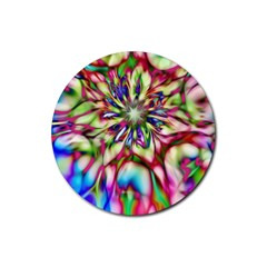 Magic Fractal Flower Multicolored Rubber Coaster (round)  by EDDArt