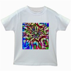Magic Fractal Flower Multicolored Kids White T Shirts by EDDArt