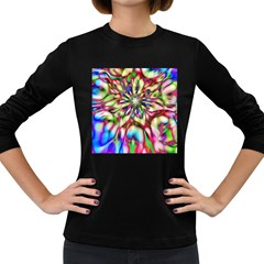 Magic Fractal Flower Multicolored Women s Long Sleeve Dark T Shirts by EDDArt