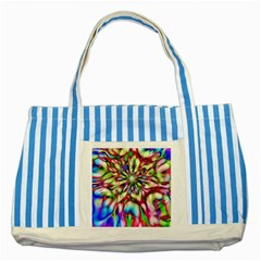 Magic Fractal Flower Multicolored Striped Blue Tote Bag by EDDArt