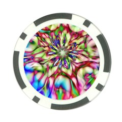 Magic Fractal Flower Multicolored Poker Chip Card Guard by EDDArt