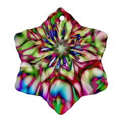 Magic Fractal Flower Multicolored Snowflake Ornament (two Sides) by EDDArt