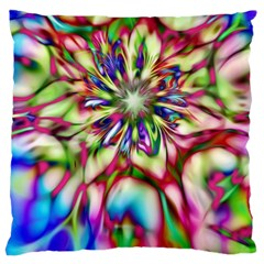 Magic Fractal Flower Multicolored Large Cushion Case (two Sides) by EDDArt