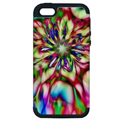 Magic Fractal Flower Multicolored Apple Iphone 5 Hardshell Case (pc+silicone) by EDDArt