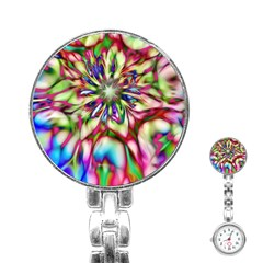 Magic Fractal Flower Multicolored Stainless Steel Nurses Watch by EDDArt