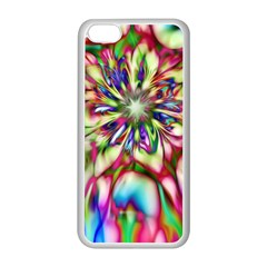 Magic Fractal Flower Multicolored Apple Iphone 5c Seamless Case (white) by EDDArt