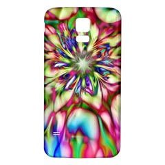 Magic Fractal Flower Multicolored Samsung Galaxy S5 Back Case (white) by EDDArt