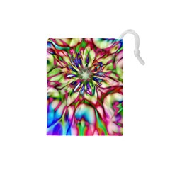 Magic Fractal Flower Multicolored Drawstring Pouches (small)  by EDDArt