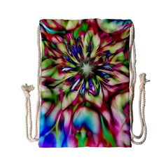Magic Fractal Flower Multicolored Drawstring Bag (small)