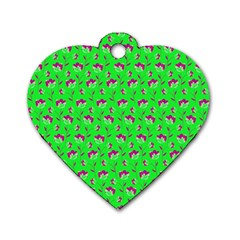 Floral Pattern Dog Tag Heart (two Sides)