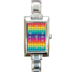 Pattern Grid Squares Texture Rectangle Italian Charm Watch by Amaryn4rt