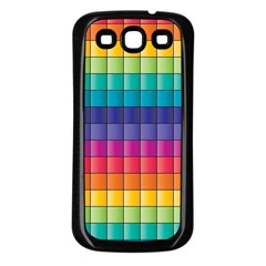 Pattern Grid Squares Texture Samsung Galaxy S3 Back Case (black) by Amaryn4rt