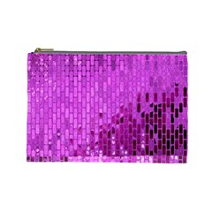 Purple Background Scrapbooking Paper Cosmetic Bag (large)