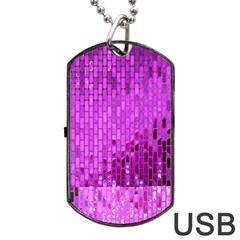 Purple Background Scrapbooking Paper Dog Tag Usb Flash (two Sides) by Amaryn4rt