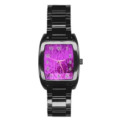 Purple Background Scrapbooking Paper Stainless Steel Barrel Watch by Amaryn4rt