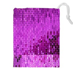 Purple Background Scrapbooking Paper Drawstring Pouches (xxl)