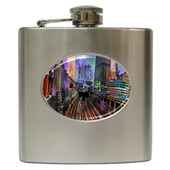 Downtown Chicago Hip Flask (6 Oz) by Amaryn4rt