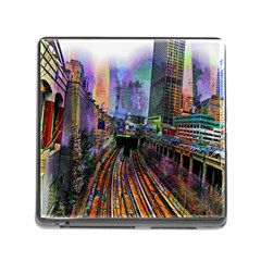 Downtown Chicago Memory Card Reader (square) by Amaryn4rt