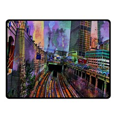 Downtown Chicago Fleece Blanket (small) by Amaryn4rt