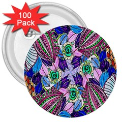 Wallpaper Created From Coloring Book 3  Buttons (100 Pack)  by Amaryn4rt