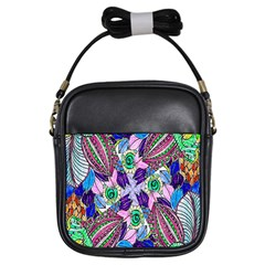Wallpaper Created From Coloring Book Girls Sling Bags by Amaryn4rt