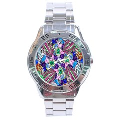 Wallpaper Created From Coloring Book Stainless Steel Analogue Watch by Amaryn4rt