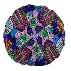 Wallpaper Created From Coloring Book Large 18  Premium Round Cushions by Amaryn4rt