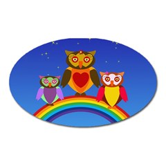 Owls Rainbow Animals Birds Nature Oval Magnet by Amaryn4rt