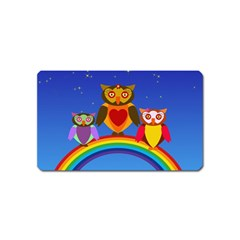 Owls Rainbow Animals Birds Nature Magnet (name Card) by Amaryn4rt