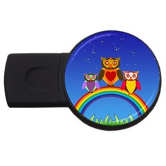 Owls Rainbow Animals Birds Nature Usb Flash Drive Round (2 Gb) by Amaryn4rt