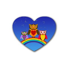 Owls Rainbow Animals Birds Nature Heart Coaster (4 Pack)
