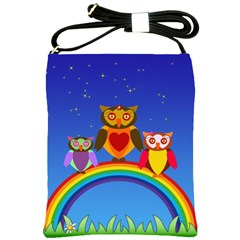 Owls Rainbow Animals Birds Nature Shoulder Sling Bags by Amaryn4rt