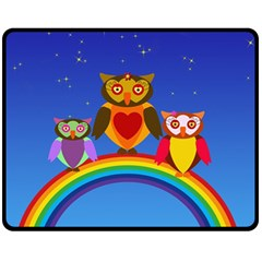 Owls Rainbow Animals Birds Nature Fleece Blanket (medium)  by Amaryn4rt