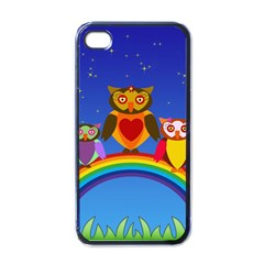 Owls Rainbow Animals Birds Nature Apple Iphone 4 Case (black) by Amaryn4rt