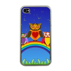 Owls Rainbow Animals Birds Nature Apple Iphone 4 Case (clear) by Amaryn4rt