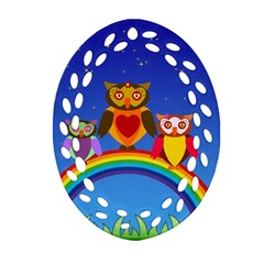 Owls Rainbow Animals Birds Nature Oval Filigree Ornament (two Sides) by Amaryn4rt