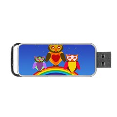 Owls Rainbow Animals Birds Nature Portable Usb Flash (two Sides) by Amaryn4rt