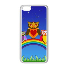 Owls Rainbow Animals Birds Nature Apple Iphone 5c Seamless Case (white) by Amaryn4rt