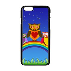 Owls Rainbow Animals Birds Nature Apple Iphone 6/6s Black Enamel Case by Amaryn4rt