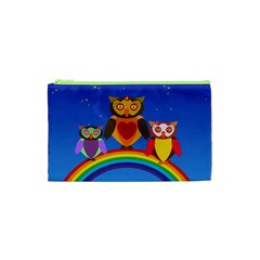 Owls Rainbow Animals Birds Nature Cosmetic Bag (xs) by Amaryn4rt