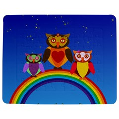 Owls Rainbow Animals Birds Nature Jigsaw Puzzle Photo Stand (rectangular) by Amaryn4rt