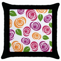 Colorful Seamless Floral Flowers Pattern Wallpaper Background Throw Pillow Case (black)
